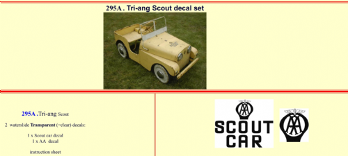 295A Tri-ang Scout decal set